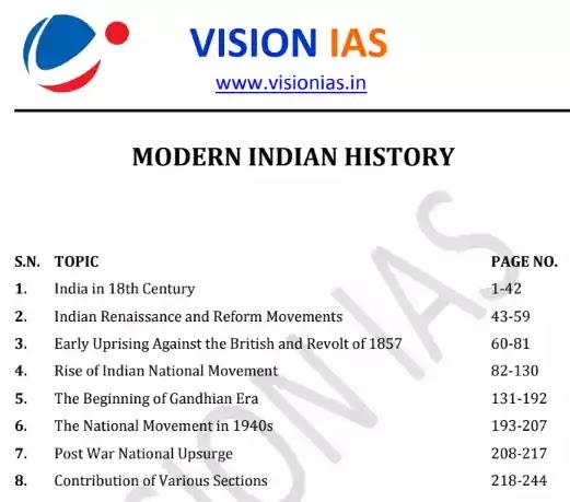 Vision IAS Modern History Notes 2020 PDF