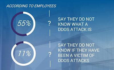 Source: A10 Networks. Over half of employees polled say they do not know what a DDoS attack is.
