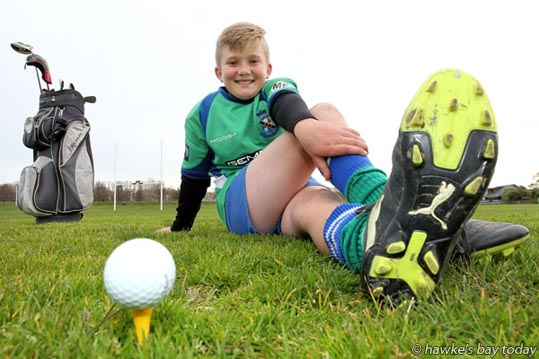 Zack Swanwick, 10, Taradale, Napier, golf and rugby player. photograph