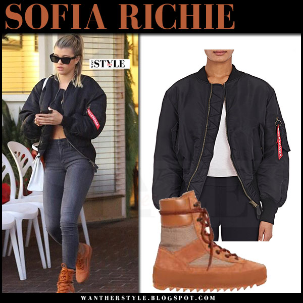 Sofia Richie in black bomber jacket balenciaga and brown suede sneaker boots yeezy what she wore