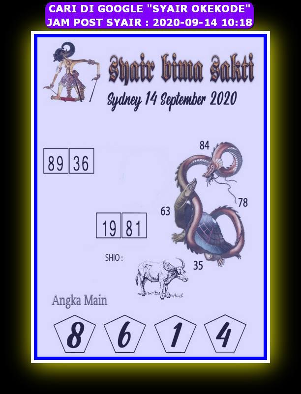 Kode syair Sydney Senin 14 September 2020 126