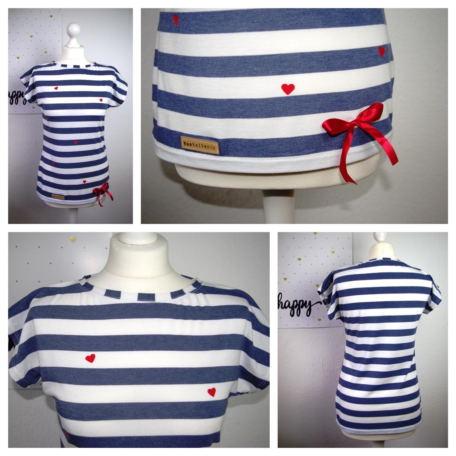 Collage Kimonotee von MariaDenmark aus blau weiß gestreiften Jersey mit roten DIY Herzen aus Plotterfolie - Nähblog