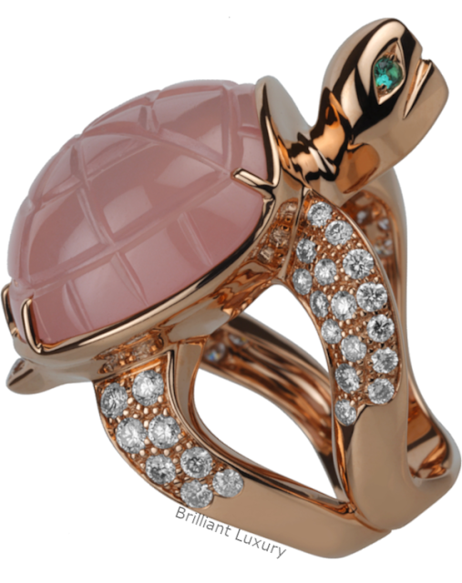 Brilliant Luxury♦Boucheron Paris Honu Turtle pink quartz ring
