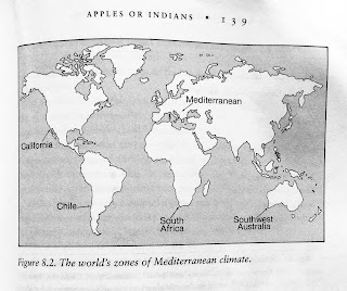 Page 139. Figure 8.2. The world's zones of Mediterranean climate. Jared Diamond. Guns, Germs, and Steel. All tables and figures.