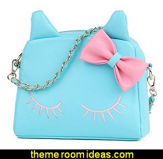 Girls Cute PU Leather Cat Messenger Tote Shoulder Bag