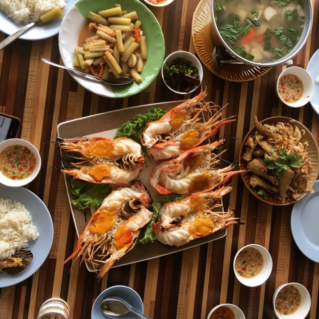 river prawns, tom yum soup, and lotus salad in Ayutthaya, Thailand
