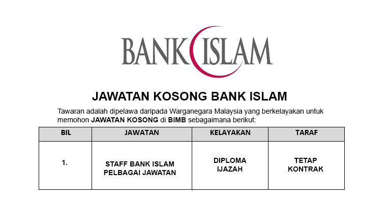 Jawatan Kosong di Bank Islam - Apply Segera