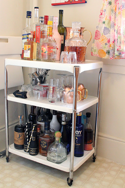 Will Bake for Shoes | Studio Apartment Vintage Bar Cart Styling