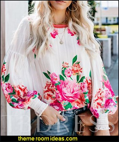 Floral Print Lantern Sleeve Loose Women's Blouse flowers blouse womens tops floral garden pink flowers womens top