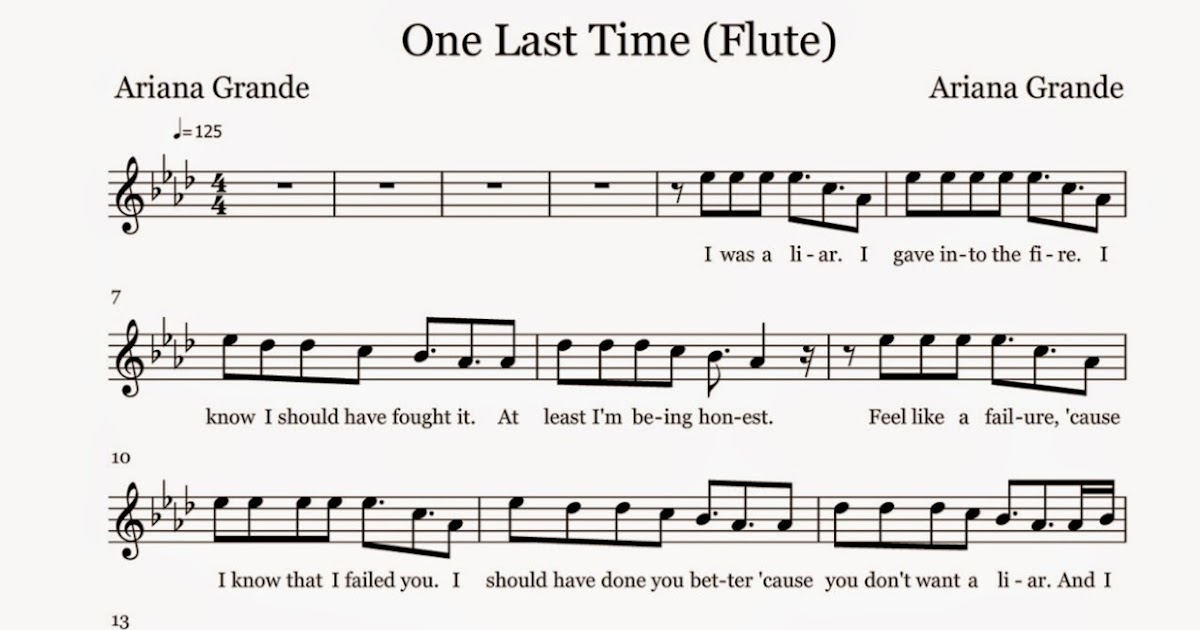 All Music Chords somewhere in time sheet music : Flute Sheet Music: One Last Time - Sheet Music
