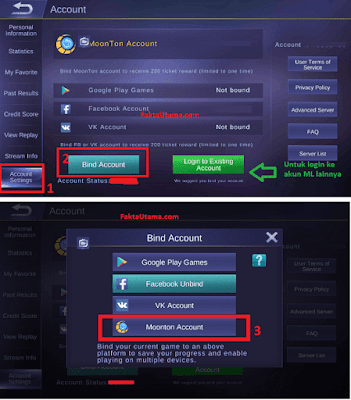 Kaitkan Mobile Legends ke Moonton Account semoga anen kamu lebih Aman Cara Bind / Kaitkan anen Mobile Legends, Agar anen kamu Lebih Aman - Terbaru 2018