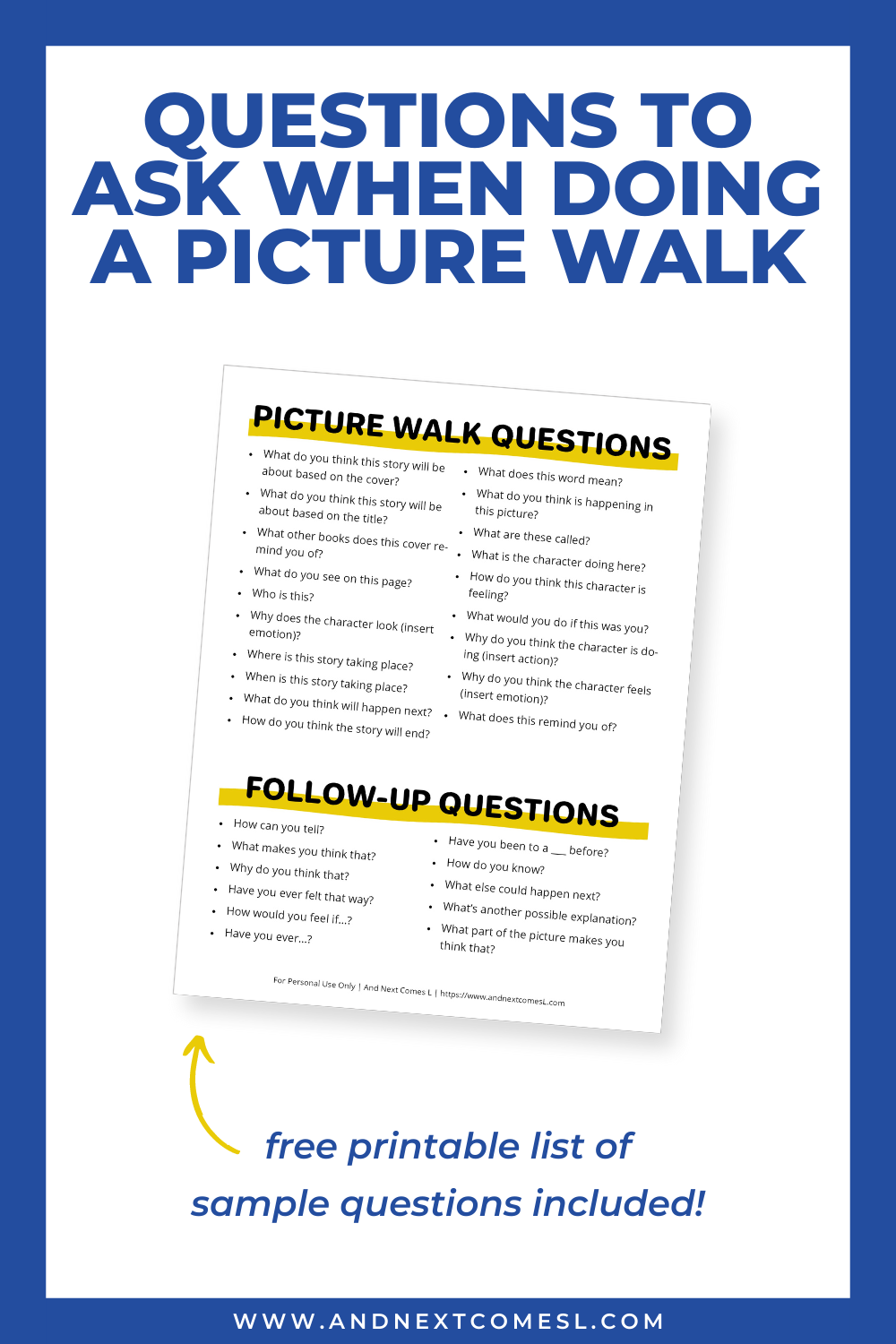 Free printable list of sample questions to ask when doing a picture walk with kids