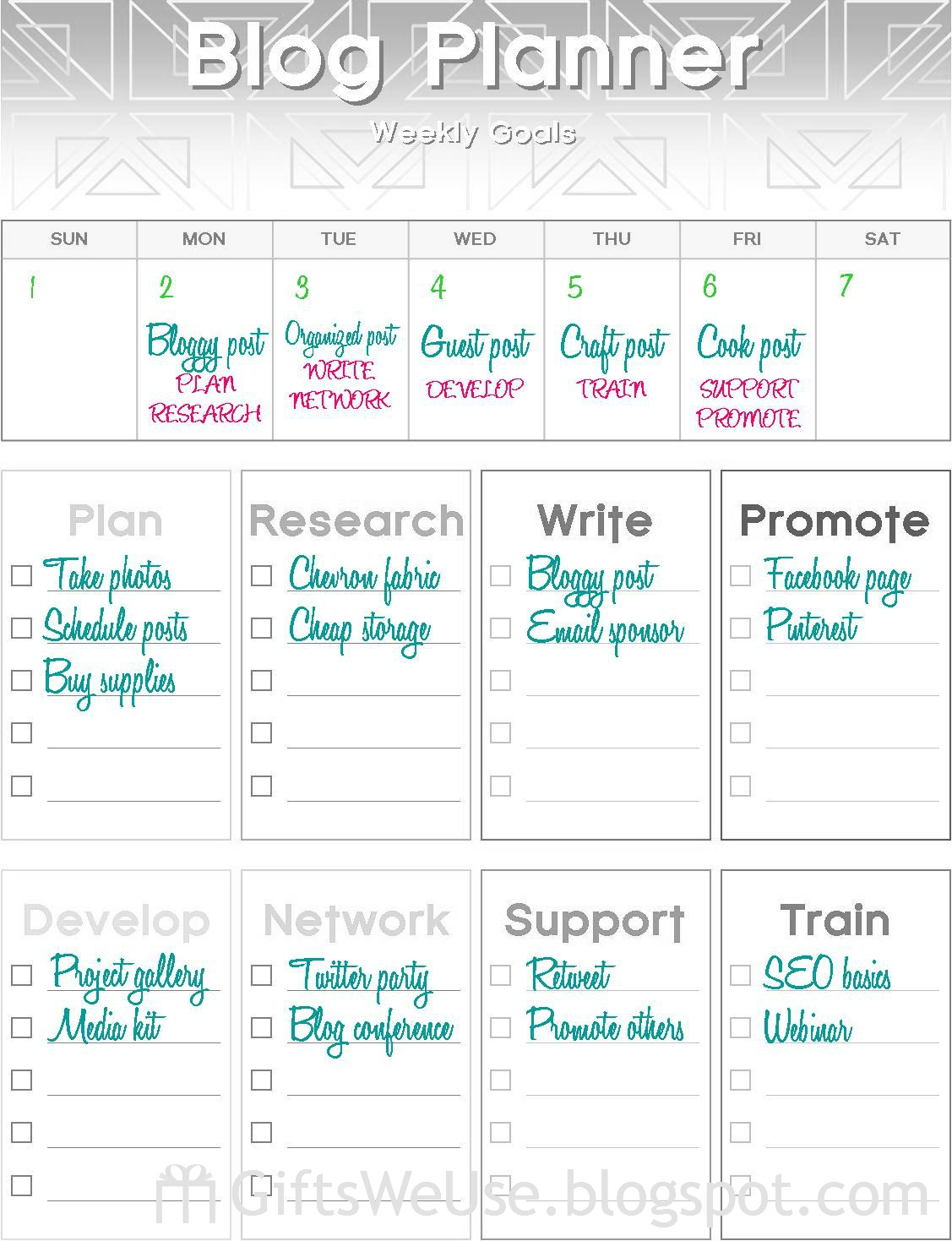 Ts We Use Blog Planner Weekly Goals Amp Printable
