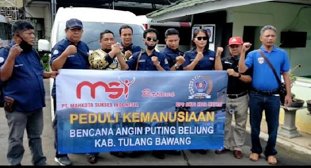 Owner PT. MSI Bersama AWPI Metro Berikan Bantuan ke Masyarakat Desa Tri Tunggal Jaya Korban Puting Beliung