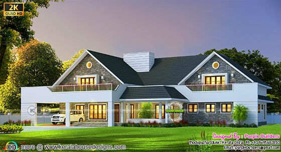 3013 square feet sloping roof house plan
