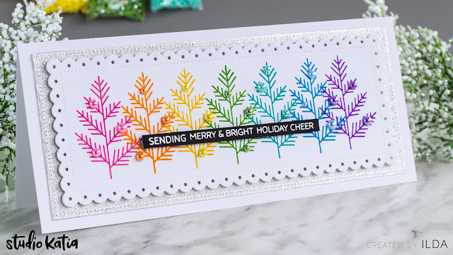 CAS, Slimline, Merry and Bright, Holiday Card, Studio Katia, rainbow,distress oxide inks,Card Making, Stamping, Die Cutting, handmade card, ilovedoingallthingscrafty, Stamps, how to,Christmas,