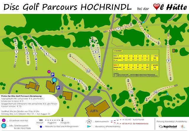 Disc Golf Parcours Plan Hochrindl Herzerlhütte Sirnitz
