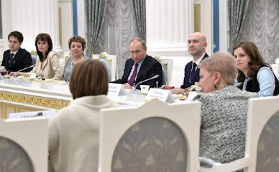 Russian President at the meeting with graduating class teachers in the Kremlin.