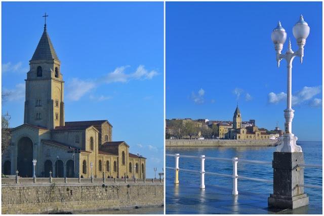 Muro Playa de San Lorenzo e Iglesia de San Pedro en Gijón