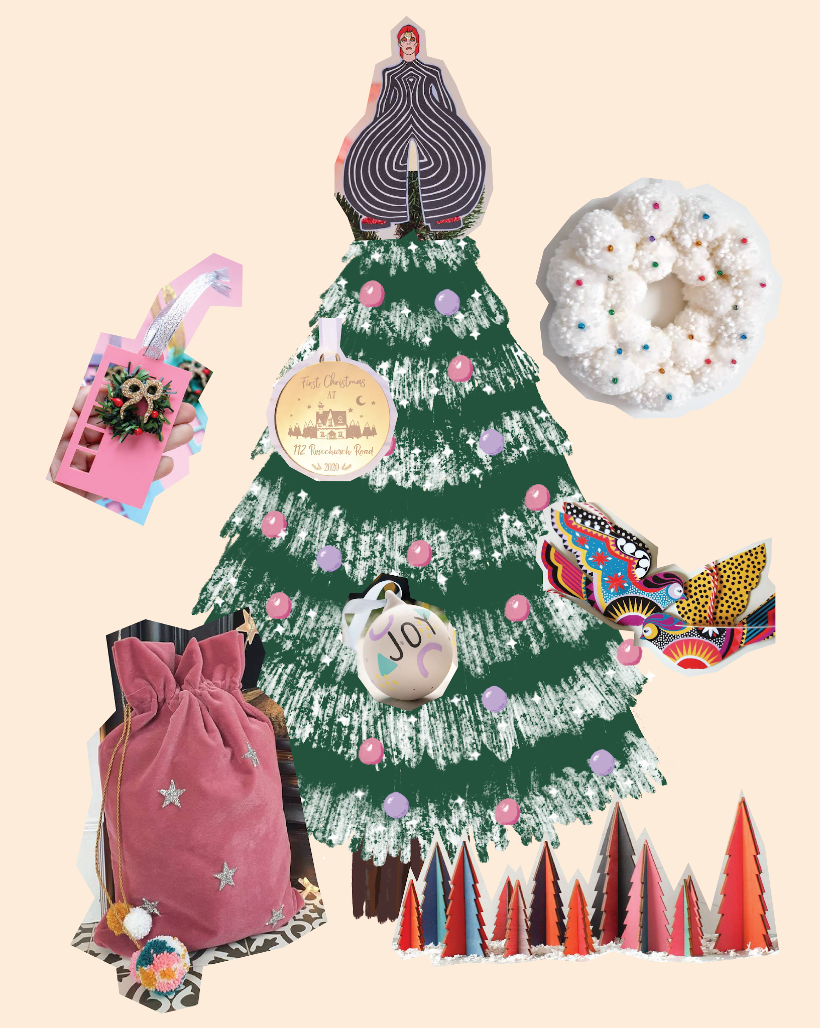 "Christmas tree illustration with various photos of products copied and pasted on top and around tree, including David Bowie Christmas tree topper, pink mid century style acrylic door decoration, personalised gold flat bauble, hand painted personalised white bauble reading ""joy"", white pom pom wreath with colourful spots, patterned bird decorations in bright colours, pink velvet sack with silver stars and pom pom tassle, and bright colourful wooden Christmas tree ornaments"