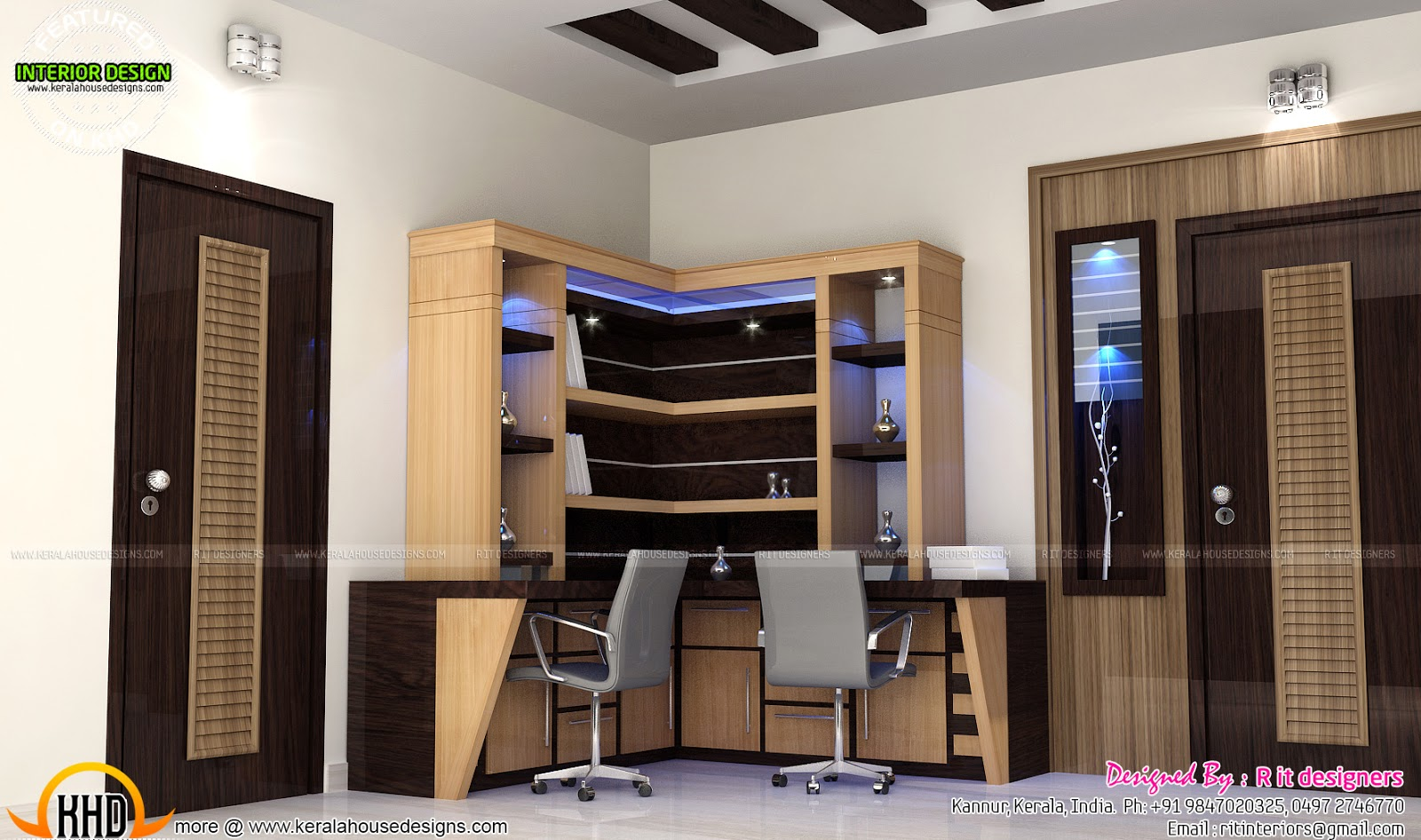Study Room Modern Kitchen Living Interior Kerala Home Design And Floor Plans