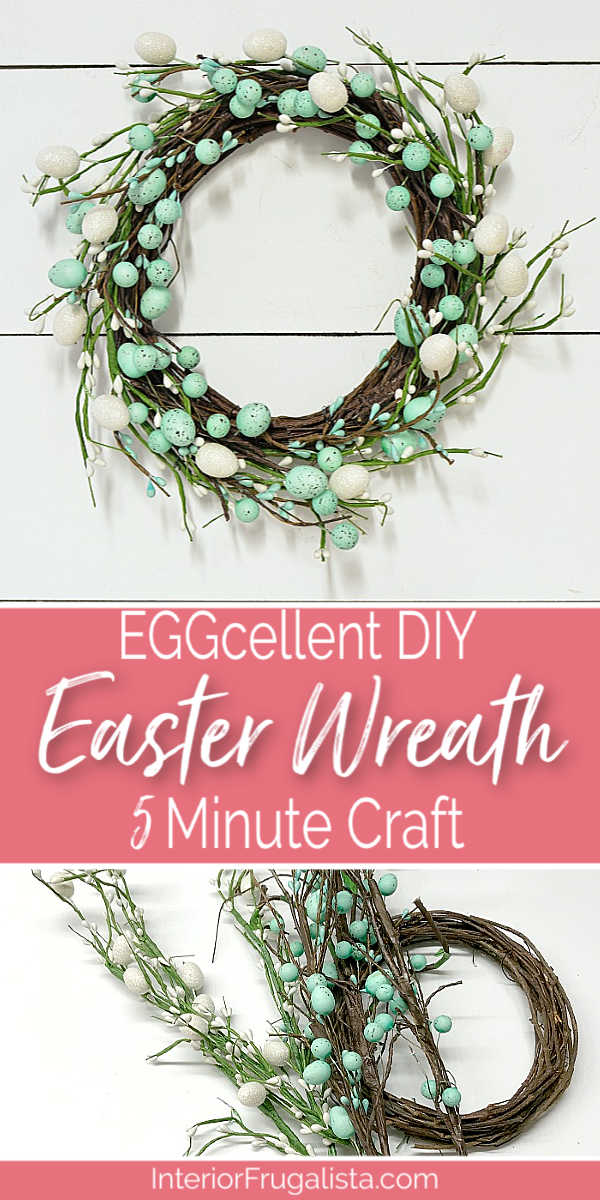This super easy DIY Easter OR Spring door wreath is an EGGcellent budget-friendly five minute craft using just three items from the dollar store. #springwreathdiy #springcraft #fiveminutecraft