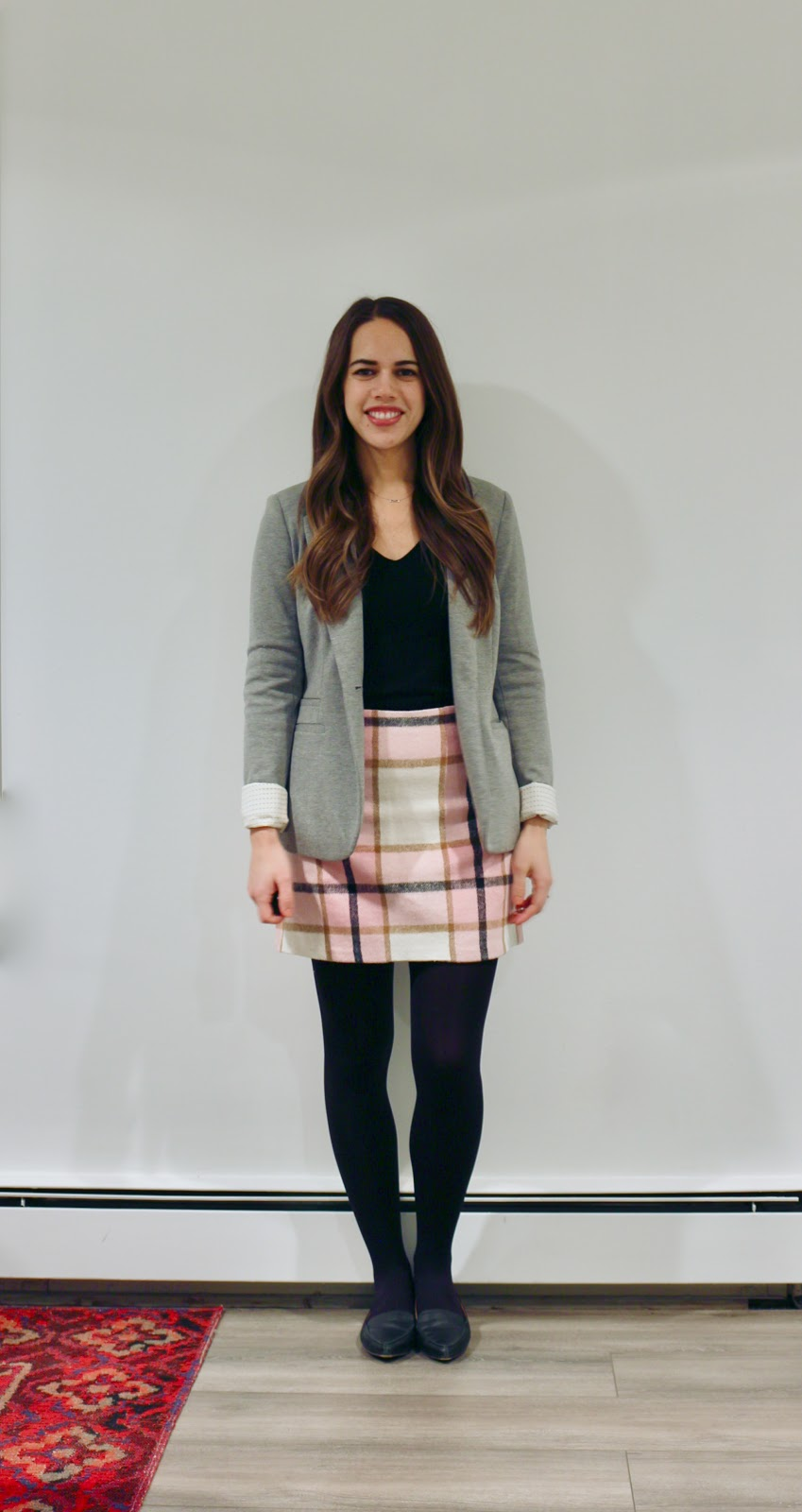 Jules in Flats - Pink Check Mini Skirt with Grey Blazer (Business Casual Winter Workwear on a Budget)