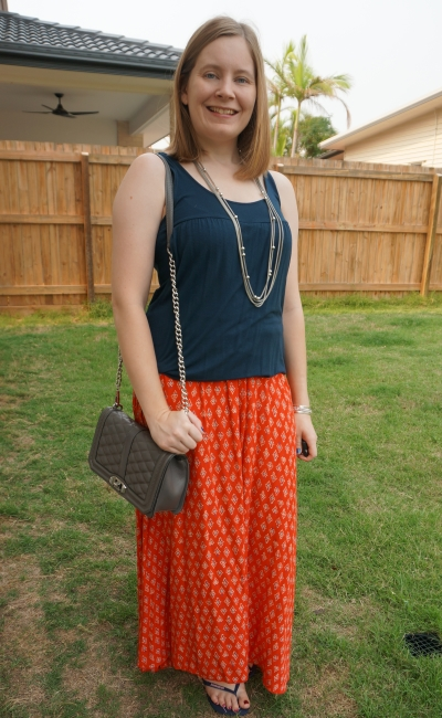 navy breastfeeding tank and red boho print billabong maxi skirt with Rebecca Minkoff Love bag | away from blue
