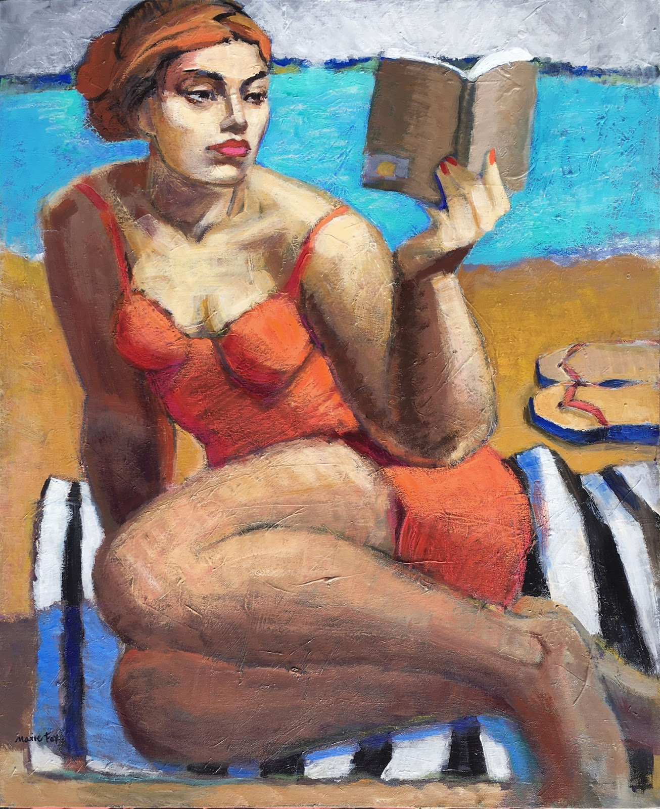A Summer Read Woman Reading Book Beach Ocean Figurative Study Abstract Artist Female Figuration Zaftig Bathing Suit After Swim