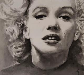 Retrato de Marilin Monroe. Acuarela sobre papel