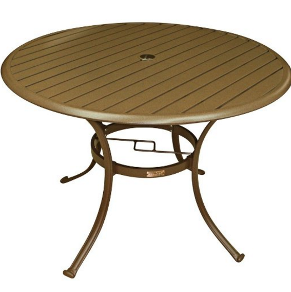 Round Aluminum Outdoor Table, Panama Jack Outdoor Island Breeze Slatted Aluminum Round Dining Table