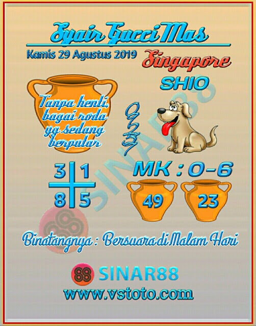 Syair Togel Singapore Kamis 29 Agustus 2019