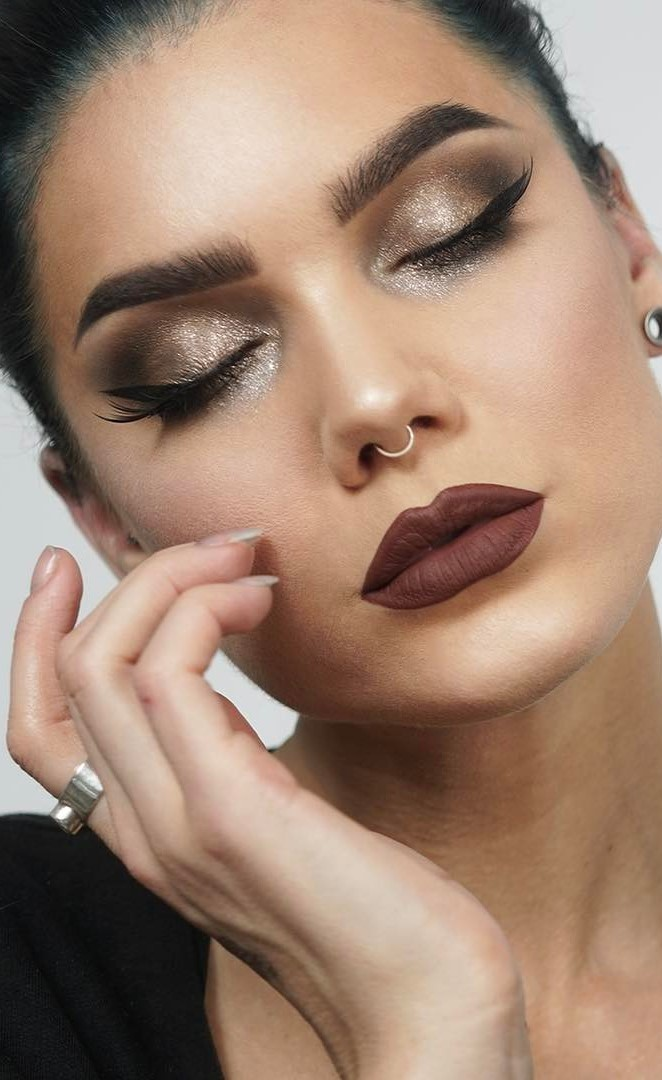 cute makeup idea with dark lips