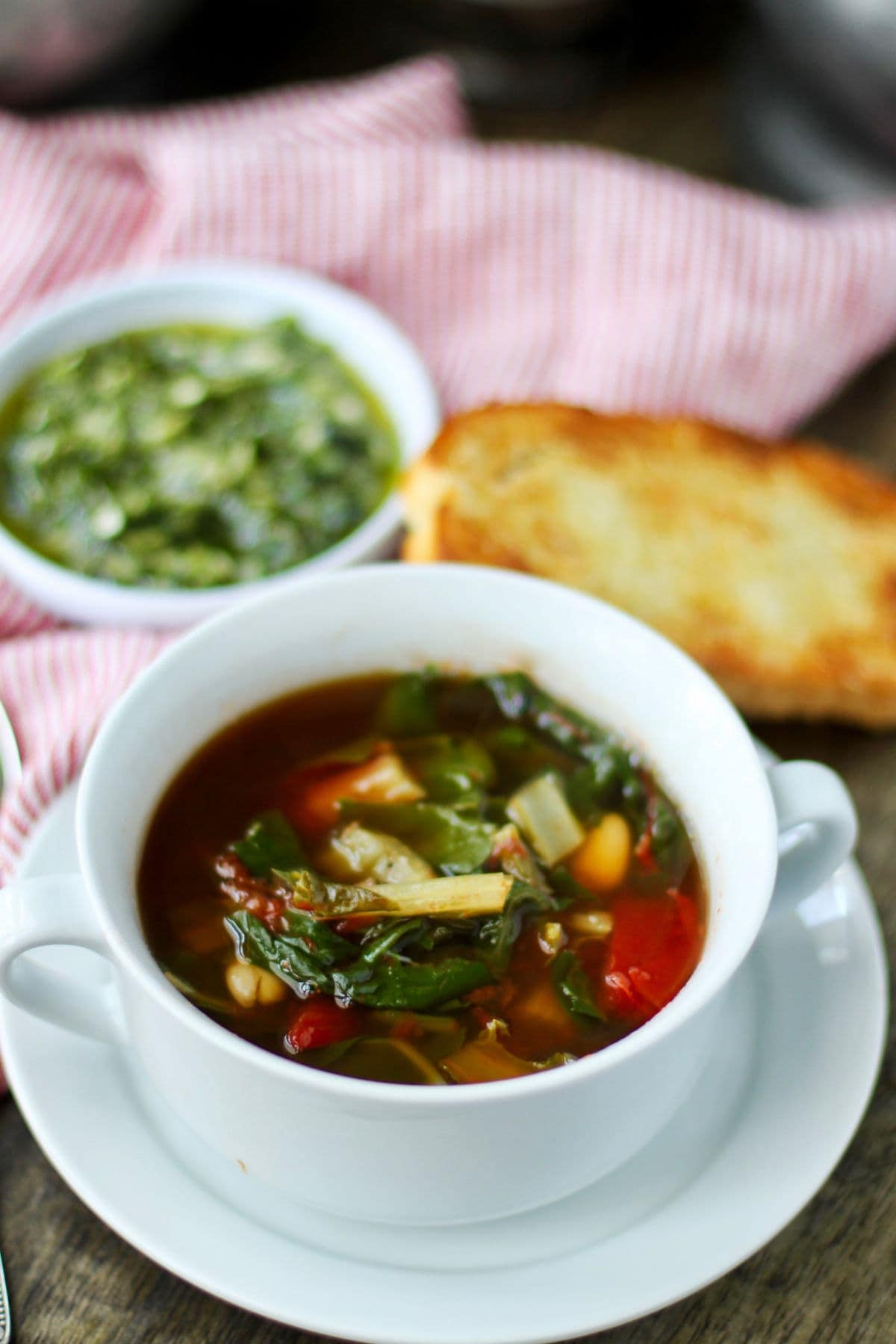 Swish chard soup in bowls.