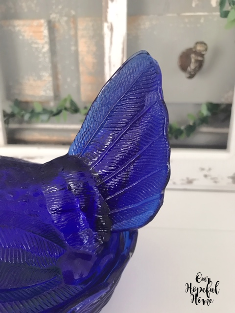 blue glass hen tail