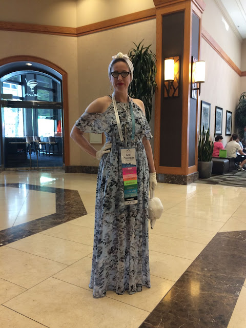 Gail Carriegr wears a 1930s Style Breezy Blue Maxi Dress for RWA Nationals i2018 in Denver