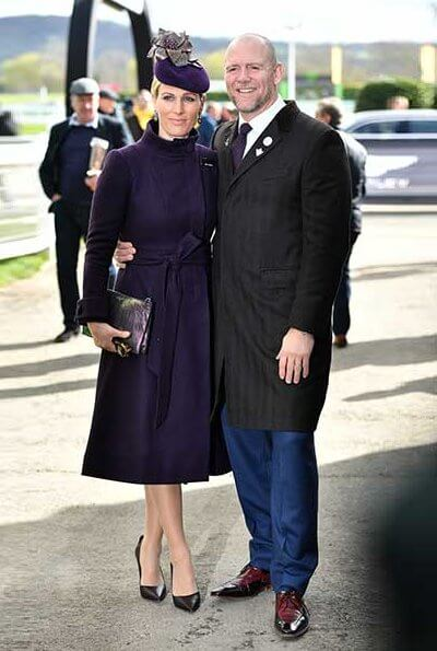 Zara wore purple Claire Mischevani coat. Autumn Phillips wore Really Wild coat, Duchess of Cambridge's favourite labels
