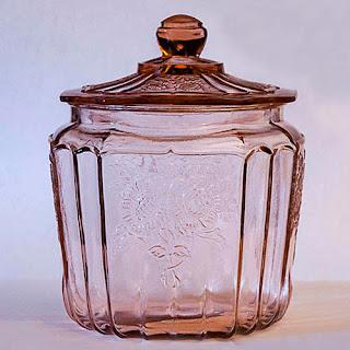 Antique Vintage Pink Depression Glass Mayfair Rose Cookie or Cracker Jar