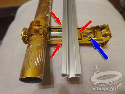 pasang batang rel pada bracket