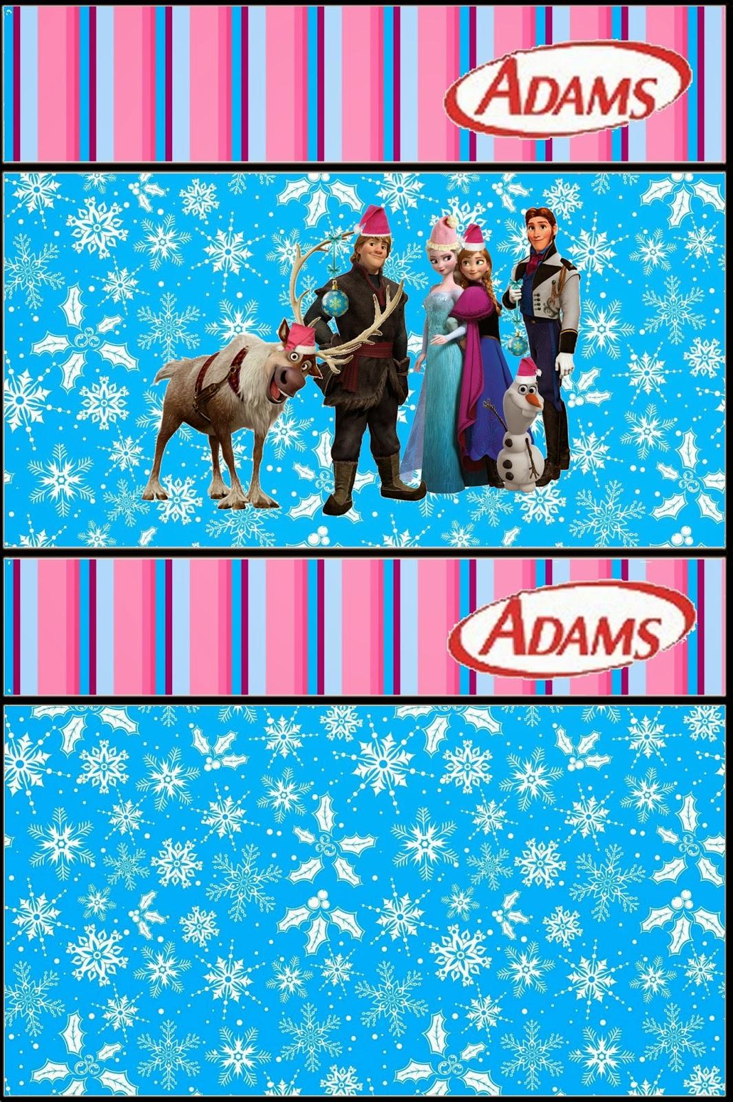 Etiqueta para Golosinas Adams para imprimir gratis de Frozen para Navidad.