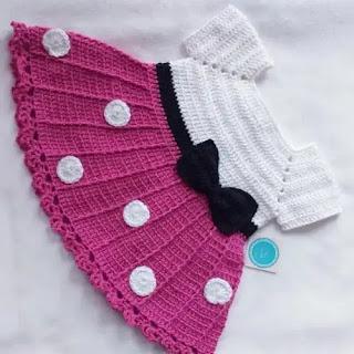 Vestido Minnie Mouse de Bebé a Crochet