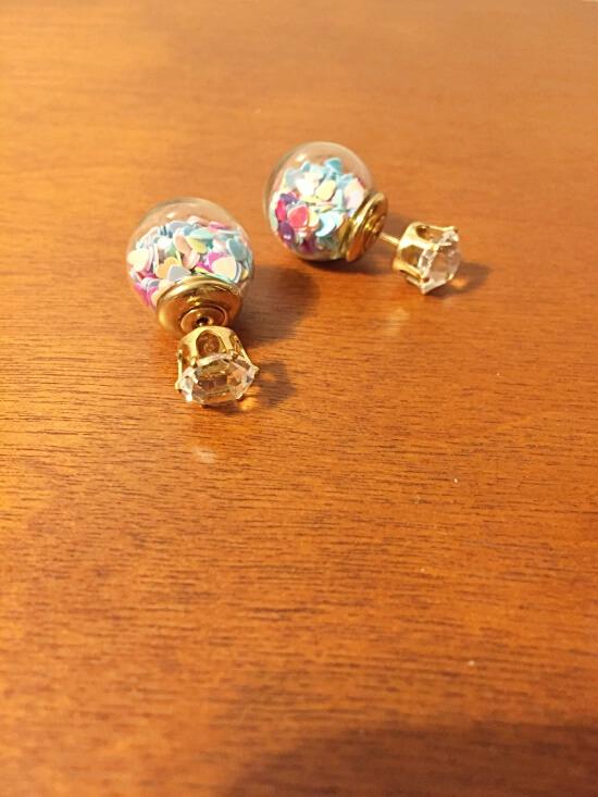 heart confetti in glass ball earrings