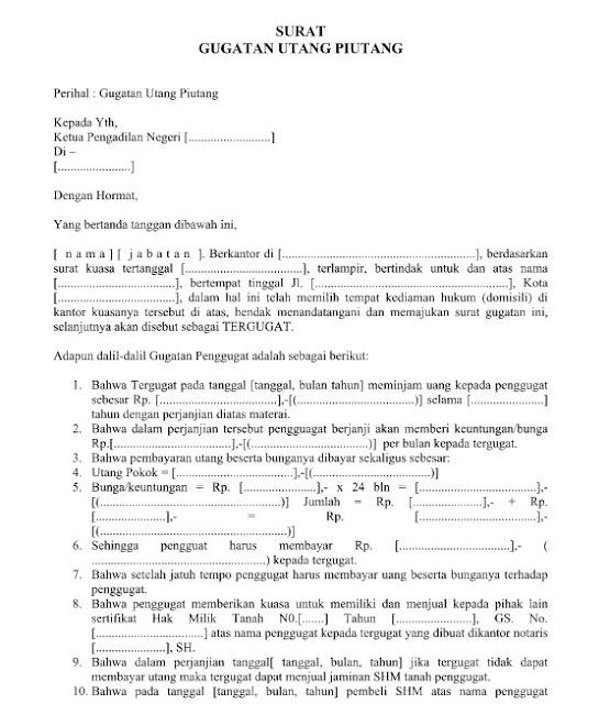 Download Contoh Surat Gugatan Utang Piutang yang Resmi, Baik, Benar Format Word  Doc