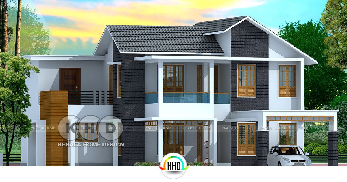 Delightful 4 Bedroom Mixed Roof Home Part - 14: 2325 Sq-ft, 4 Bedroom Mixed Roof Home Design