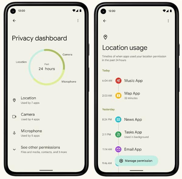 Android 12 プライバシー・ダッシュボード