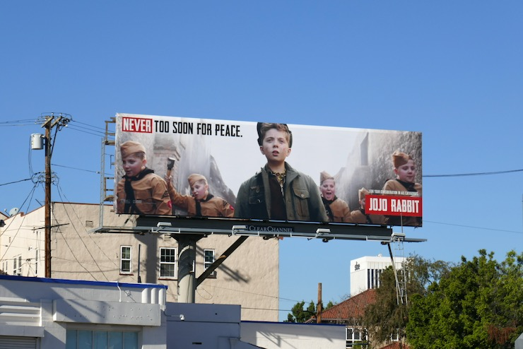 Never too soon for peace Jojo Rabbit FYC billboard