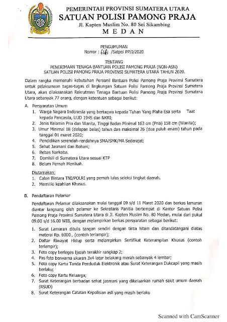 Penerimaan Tenaga Bantuan Polisi Pamong Praja Satpol PP Provinsi Sumatera Utara Tahun 2020 (77 orang)