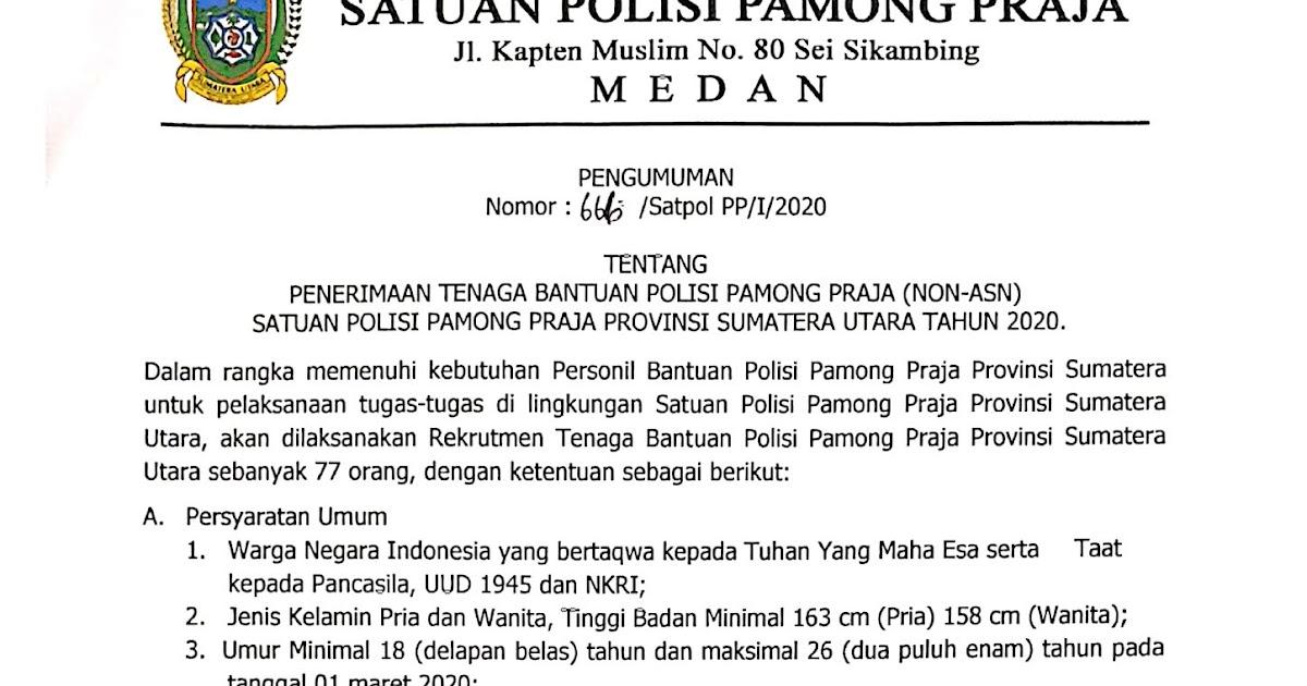 Penerimaan Tenaga Bantuan Polisi Pamong Praja Satpol Pp Provinsi Sumatera Utara Tahun 2020 77 Orang Rekrutmen Dan Lowongan Kerja Bulan Januari 2021