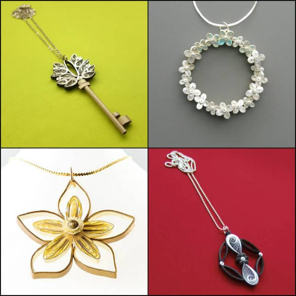 four quilled necklace pendants