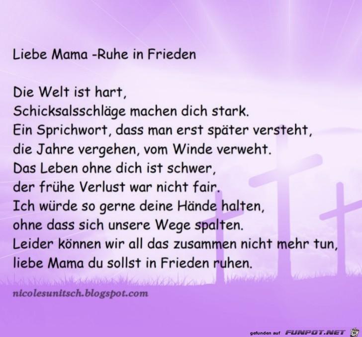 Gedichte mama tod
